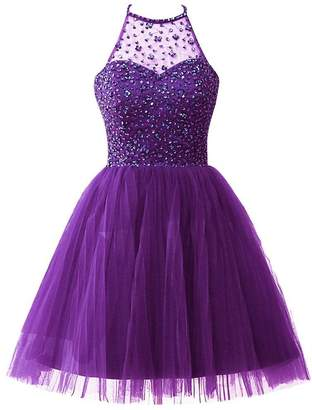 Cdress Short Tulle Homecoming Dresses Junior Halter Prom Dress Sequins Beading Cocktail Dress US