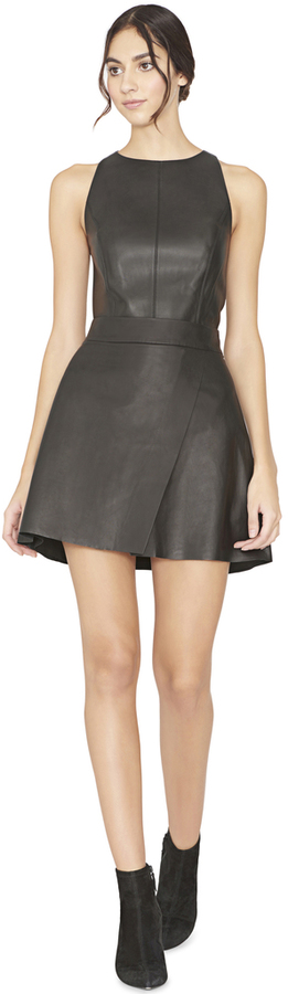 Alice + Olivia Trixie Leather Crossover Mini Skirt