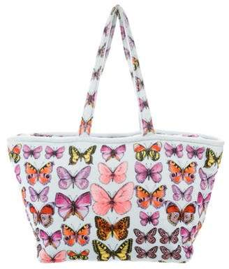 Versace 2018 Butterfly Print Terrycloth Tote