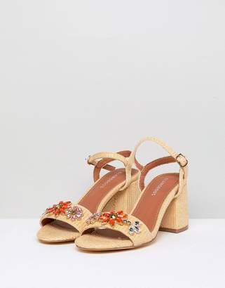 Glamorous Natural Embellished Kitten heel Sandals