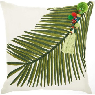 Nourison Royal Palm Palm Right Tassel Green Throw Pillow