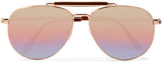 TOM FORD - Sean Aviator-style Rose Gold-tone Mirrored Sunglasses - Pink $525 thestylecure.com