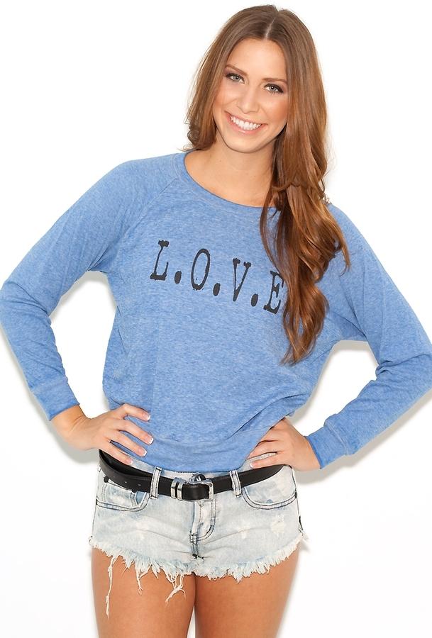 Jet by John Eshaya Love Sweatshirt in Blue