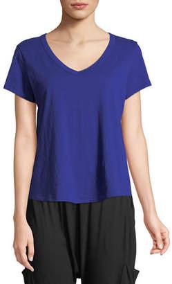 Eileen Fisher Short-Sleeve Organic Cotton V-Neck Shirttail Tee