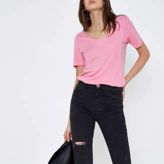 River Island Womens Bright Pink scoop neck T-shirt