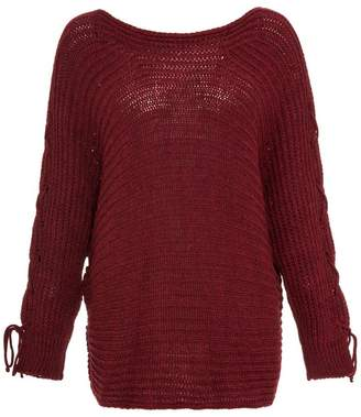 Quiz Berry Knit Lace Up Batwing Sleeve Jumper