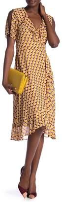 Donna Morgan Patterned Ruffled Surplice Wrap Dress