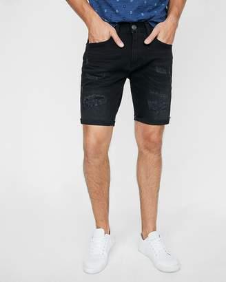 Express Slim 9 Inch Black Destroyed Stretch Denim Shorts