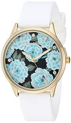 Juicy Couture Black Label Women's Swarovski Crystal Accented Gold-Tone and White Silicone Strap Watch
