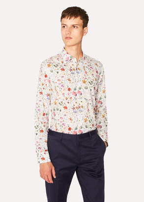 Paul Smith Men's Slim-Fit Cream Liberty Print Shirt With Contrast Details