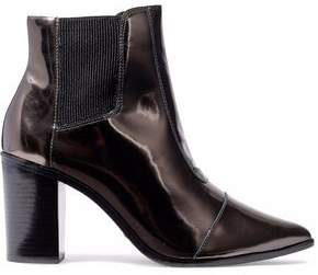 Schutz Metallic Patent-Leather Ankle Boots