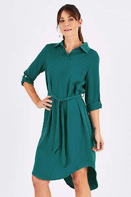 NEW bird by design Womens Knee Length Dresses The Curve Hem Collar Dress Teal