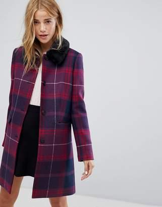 Jack Wills Check Cocoon Coat With Detachable Fur Collar