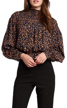 Bardot Edita Leopard Print Tie Back Blouse