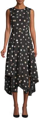 Calvin Klein Polka Dot Belted Fit--Flare Dress