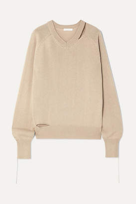 Helmut Lang Distressed Cutout Cotton, Wool And Cashmere-blend Sweater