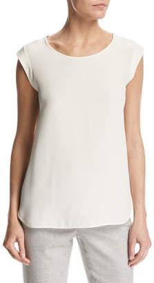 Loro Piana Mae Silk Cap-Sleeve Blouse