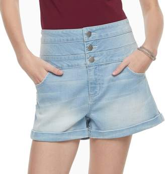 Tinseltown Juniors' Triple Stack Jean Shortie Shorts