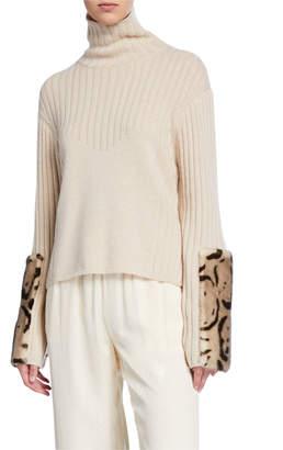 Sally LaPointe Leopard-Print Fur Print Wool-Cashmere Sweater