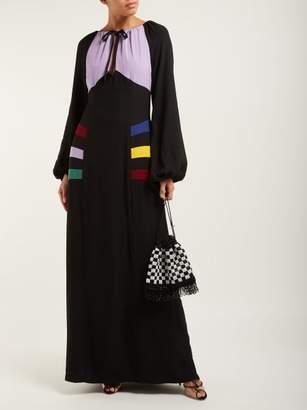 STAUD Pacha Panelled Crepe Maxi Dress - Womens - Black Multi