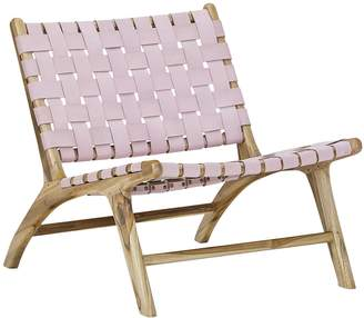 Warehouse Eastern Tactile Textures Lazie Leather Occasional Chair, Blush Pink LP