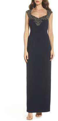 Adrianna Papell Beaded Bodice Column Gown