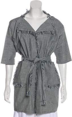 Chloé Short Sleeve Check Pattern Coat