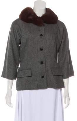 Dolce & Gabbana Wool Fur-Trimmed Blazer Grey Wool Fur-Trimmed Blazer