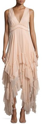 Alice + Olivia Brynn Sleeveless Silk Tiered Midi Dress, Pink $795 thestylecure.com