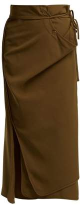 Lemaire Tie Waist Wrap Wool Skirt - Womens - Brown