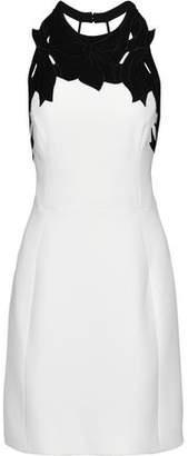 Halston Open-Back Broderie Anglaise-Paneled Cady Mini Dress
