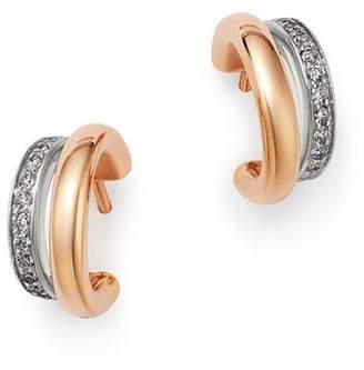 Pomellato 18K Rose Gold Iconica Diamond Double Huggie Earrings