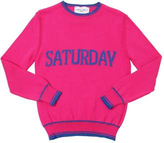 Alberta Ferretti SATURDAY INTARSIA COTTON KNIT PULLOVER