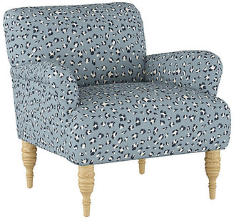 One Kings Lane Nicolette Accent Chair - Blue Cheetah