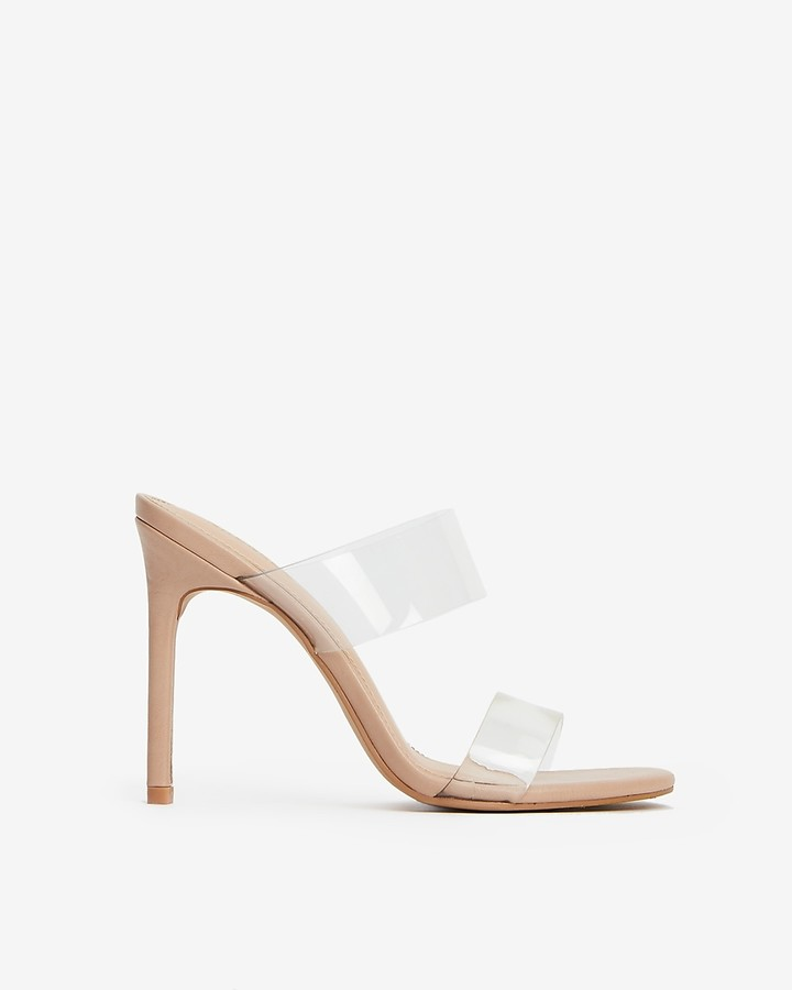 Express Vinyl Double Strap Heeled Sandals