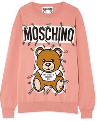 Moschino Teddy Intarsia Cotton Sweater - Antique rose
