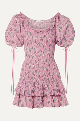 LoveShackFancy Violet Ruffled Floral-print Cotton-voile Mini Dress - Pink