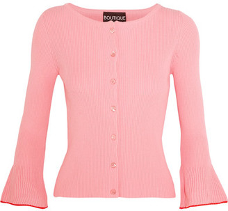 Boutique Moschino - Ribbed Cotton Cardigan - Pink $495 thestylecure.com