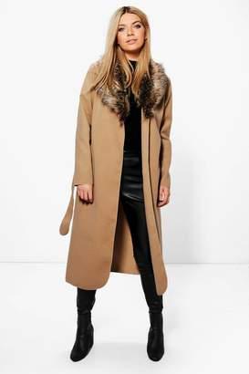 boohoo Faux Fur Collar Wrap Coat