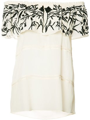 Nicole Miller embroidered off-shoulder blouse $385 thestylecure.com