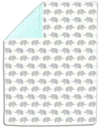 The Peanut Shell The Pompom Baby Blanket - Mint/Gray Elephants