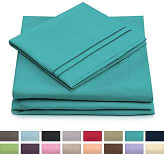 +Hotel by K-bros&Co Queen Size Bed Sheets - Turquoise Luxury Sheet Set - Deep Pocket - Super Soft Hotel Bedding - Cool & Wrinkle Free - 1 Fitted