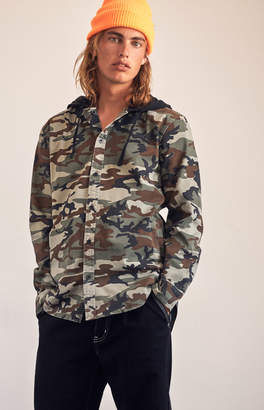 Pacsun Camo Hooded Long Sleeve Button Up Shirt