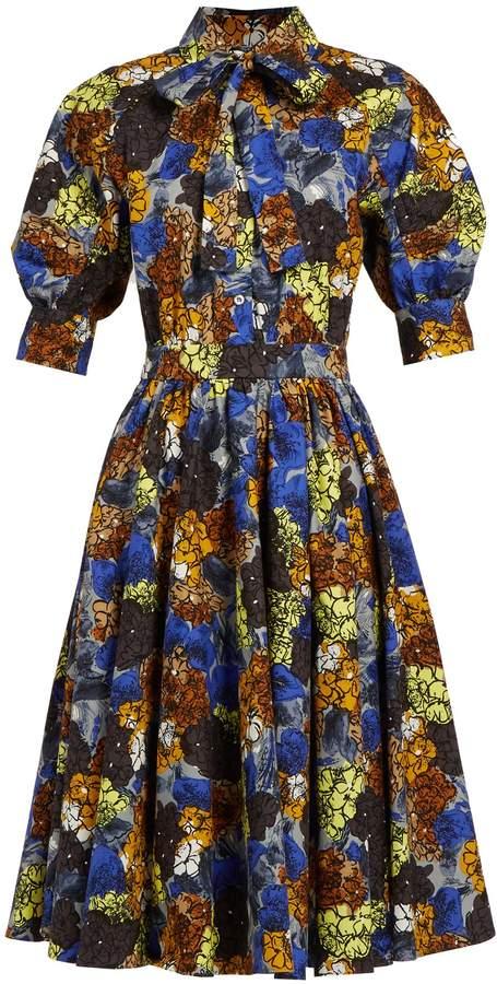PRADA Hydrangea-print stretch-cotton dress