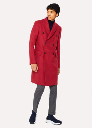 Paul Smith Men's Red Houndstooth Check Double-Breasted Wool Overcoat