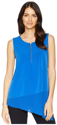 Calvin Klein Sleeveless Asymmetrical Chiffon Hem Top Women's Sleeveless