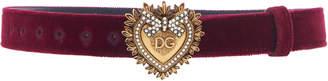 Dolce & Gabbana Embellished Gold-Tone Velvet Belt