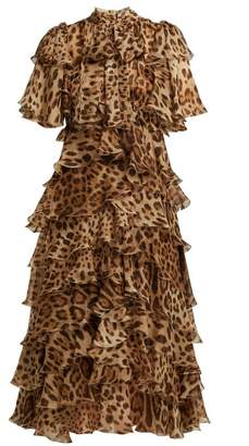 Dolce & Gabbana Leopard Print Ruffled Silk Chiffon Dress - Womens - Leopard