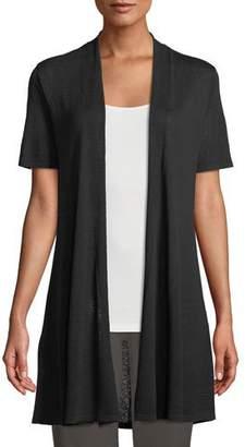 Eileen Fisher Short-Sleeve Fine Silk-Organic Linen Long Cardigan, Plus Size