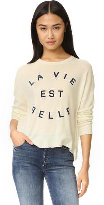 SUNDRY La Vie Crew Neck Sweater $187 thestylecure.com